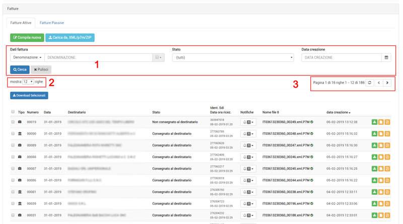 I filtri relativi alle fatture attive nell'area personale di Invoice7