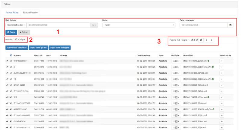 I filtri relativi alle fatture passive nell'area personale di Invoice7