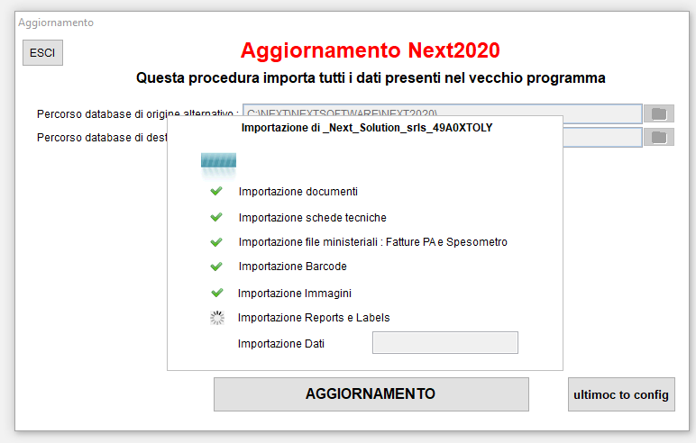 Importazione dati dopo aggiornamento Next2020