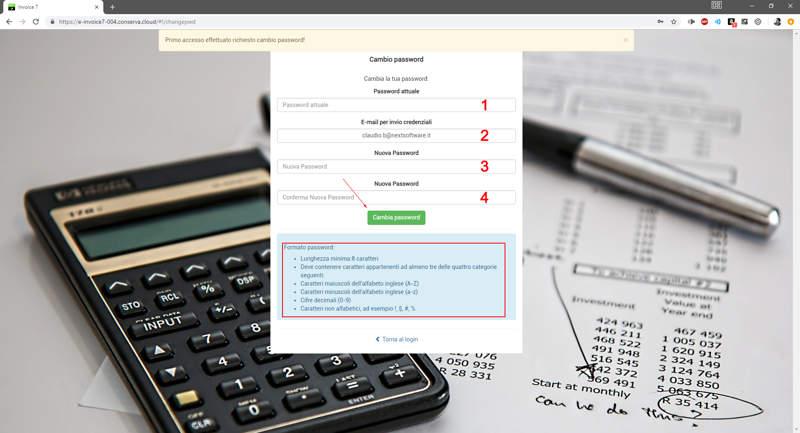 Istruzioni per il primo accesso su Invoice7