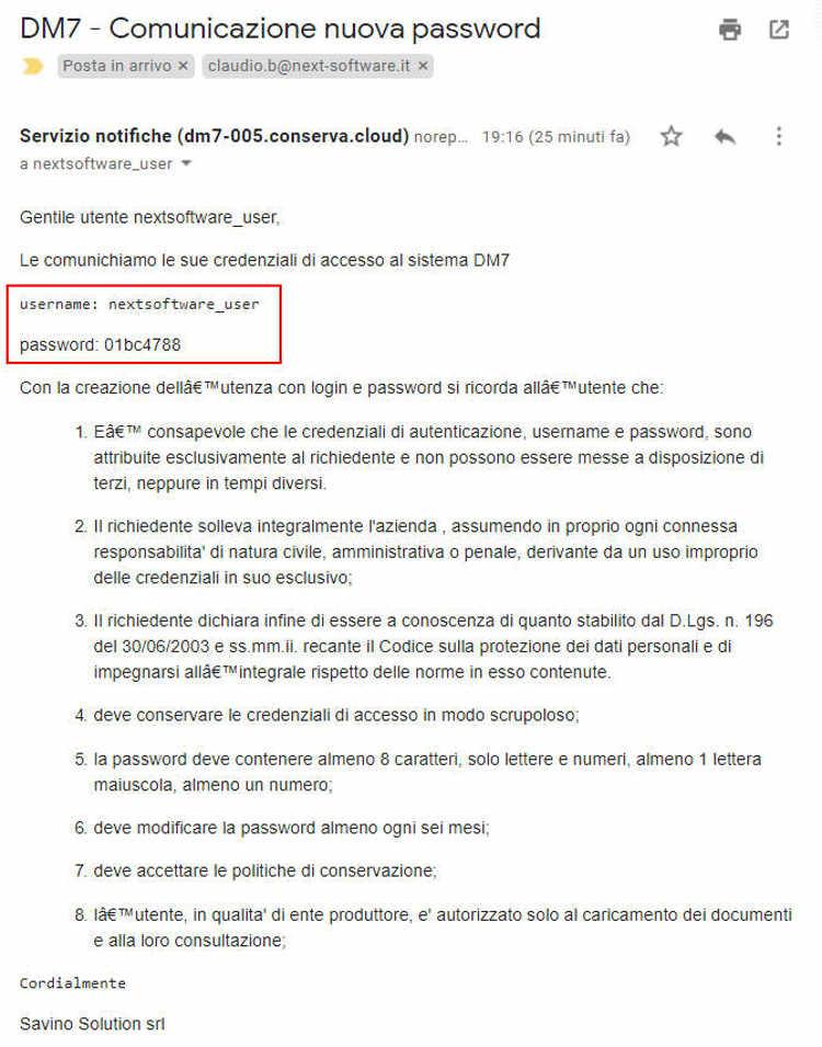 Mail di comunicazione della nuova password in Invoice7