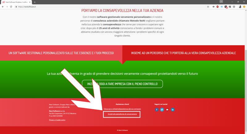 Il pulsante di accesso alla piattaforma Invoice7