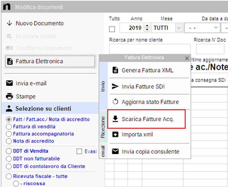 Il pulsante per scaricare fatture passive in Next2020