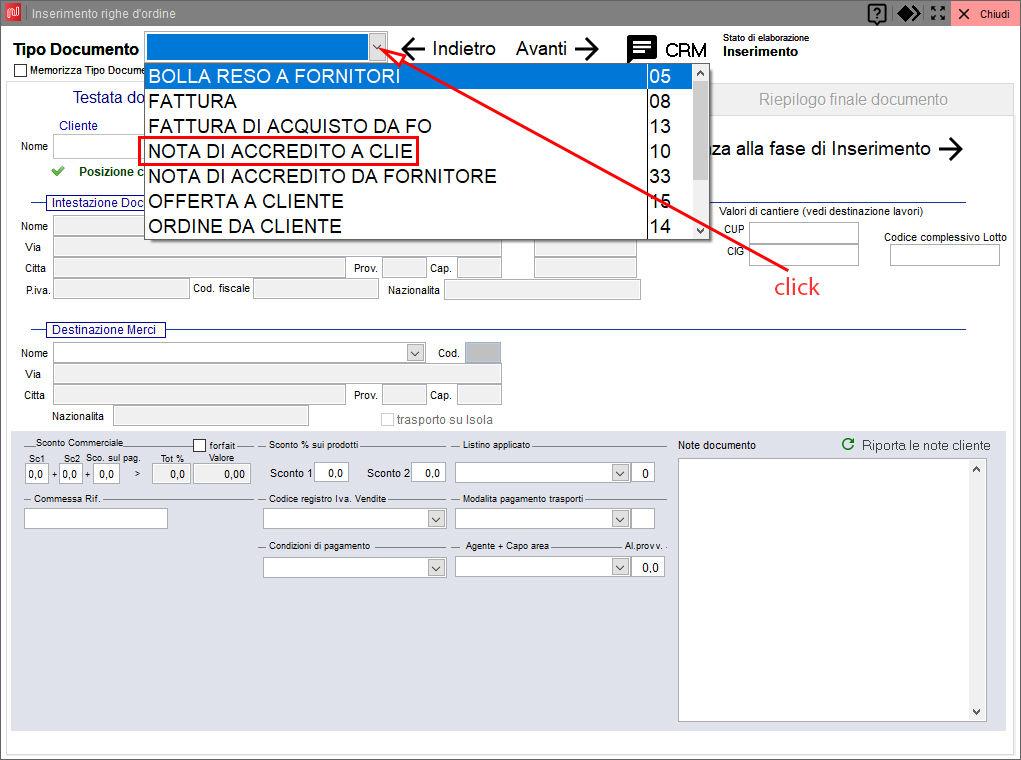 Scelta causale di movimento da inserimento di un documento