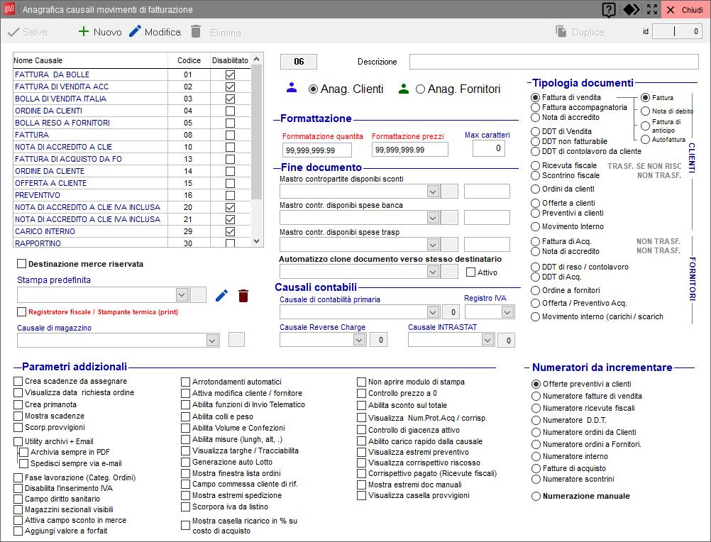 Schermata configurazione causali