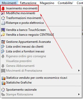 Il menu inserimento movimenti in Next2020