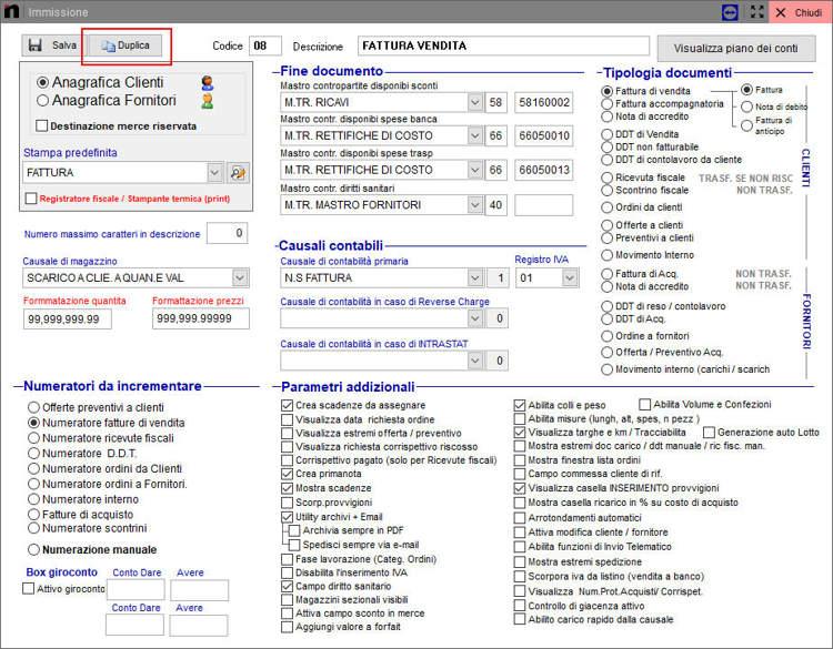 Il pulsante duplica schermata per la configurazione della causale in Next2020