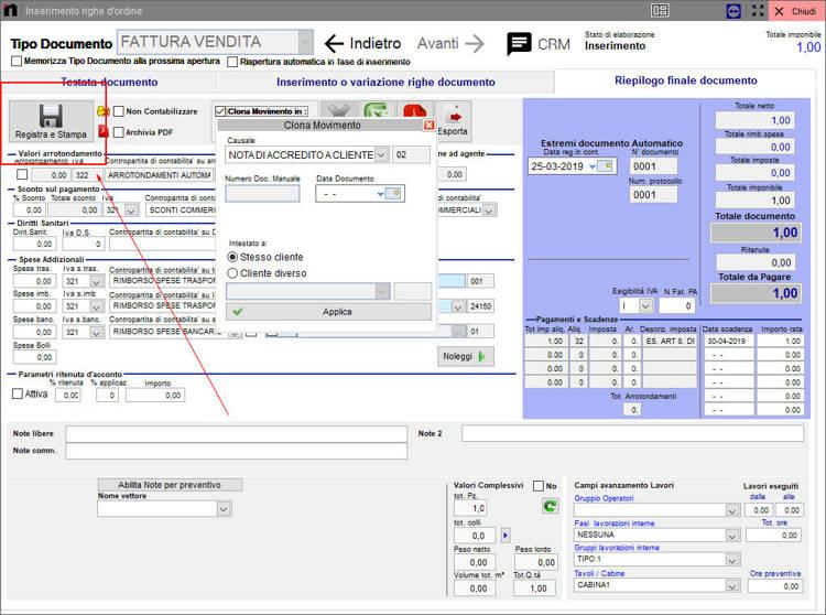 Il pulsante registra e stampa schermata causale in Next2020p