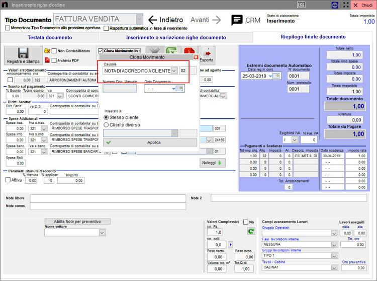 Scelta causale inserimento automatico Next2020