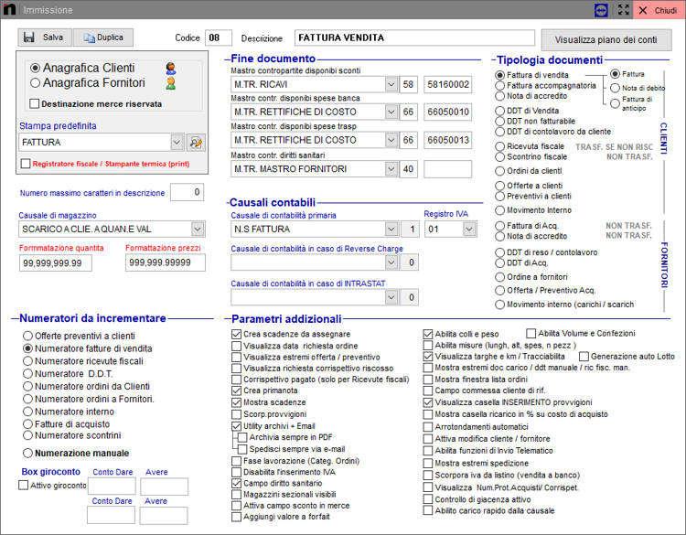La schermata di configurazione causale in Next2020