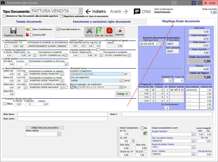 La schermata per l'inserimento righe ordine inserimento automatico Next2020