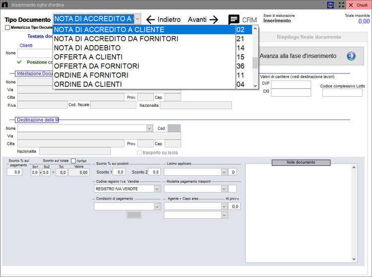 La schermata per l'inserimento righe ordine inserimento manuale Next2020