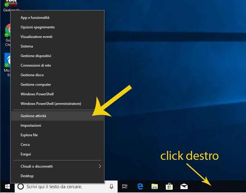 Come aprire la finestra Gestione Attività dalla schermata principale del computer
