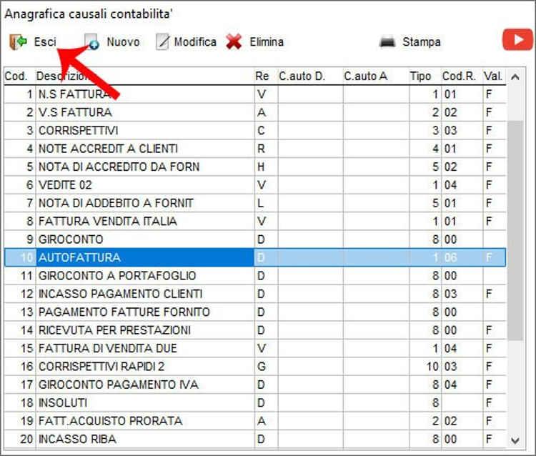 La nuova causale di contabilità Autofattura nella schermata Anagrafica causali contabilità