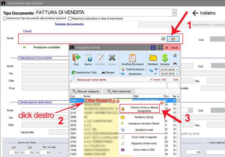 Come inserire un cliente dal menù anagrafica clienti nella schermata Inserimento righe d'ordine in next2020