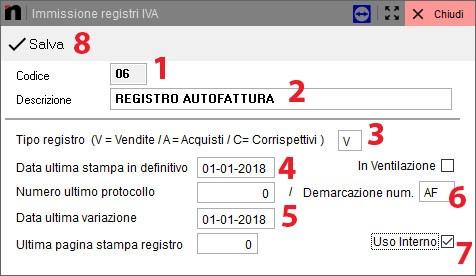 Schermata immissione registri IVA: tutti i passaggi per creare il nuovo registro autofattura in Next2020