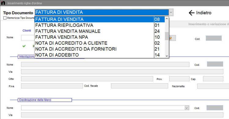 Come selezionare il tipo di documento Fattura nella schermata Inserimento righe d'ordine in Next2020