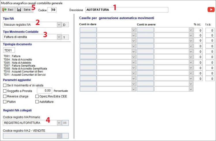 Schermata Anagrafica causali di contabilità: tutti i passaggi per creare la nuova causale Autofattura
