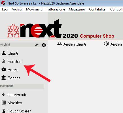 Il bottone per aprire l'anagrafica fornitori in Next2020