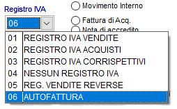 Come selezionare il codice del Registro IVA Autofattura dal menù a tendina nella schermata di modifica causale di movimento