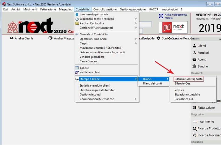 Come aprire la schermata del Bilancio Contrapposto dal menù Contabilità nel gestionale Next2020