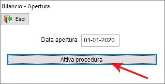 Schermata in cui effettuare l'apertura di bilancio in Next2020