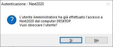 Avvertimento di Autenticazione di Next2020 che richiede di sbloccare l'utente che prima della chiusura forzata era connesso al programma