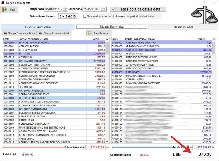Il bilancio economico nella schermata Bilancio Contrapposto nel gestionale Next2020