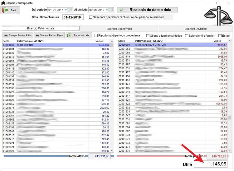 Il bilancio patrimoniale nella schermata Bilancio Contrapposto nel gestionale Next2020