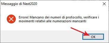 Avviso di errore di protocolli IVA mancanti in Next2020: selezionare ok