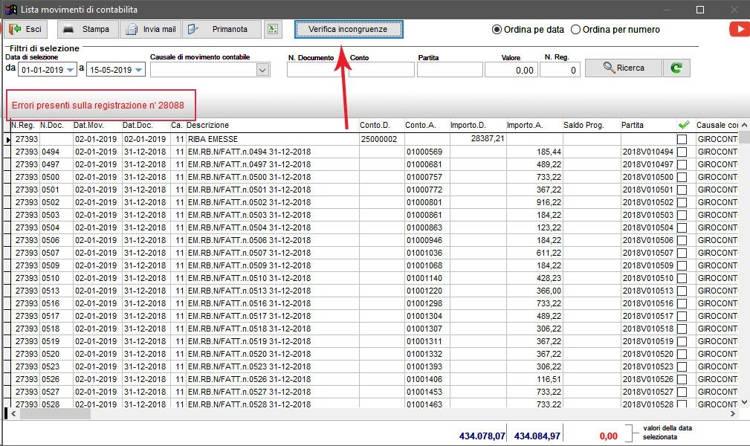Schermata dei movimenti contabili in cui sono evidenziati degli errori di registrazione nel gestionale Next2020