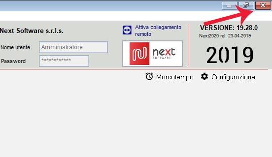 Dettaglio della schermata principale di Next2020: come cliccare sulla X che chiude il programma