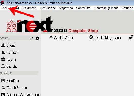 Dettaglio della schermata principale di Next2020: come cliccare su Esci