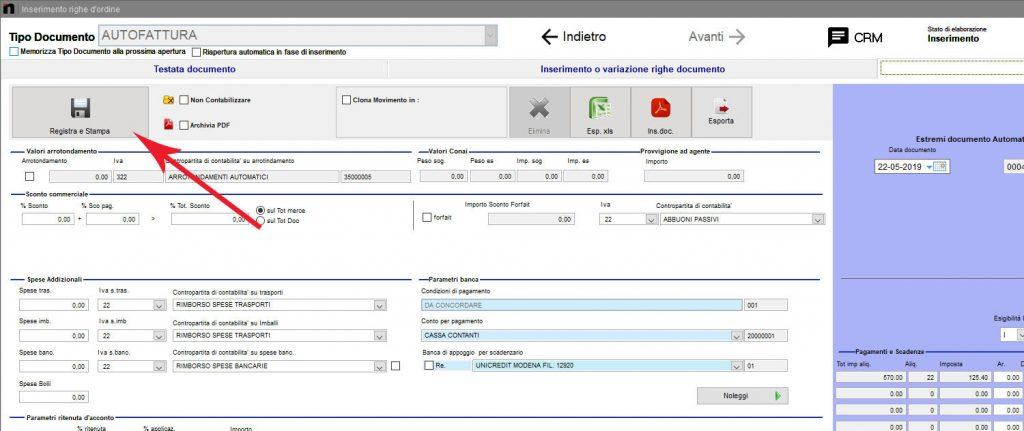 Come registrare il nuovo documento nella schermata Inserimento righe d'ordine in Next2020
