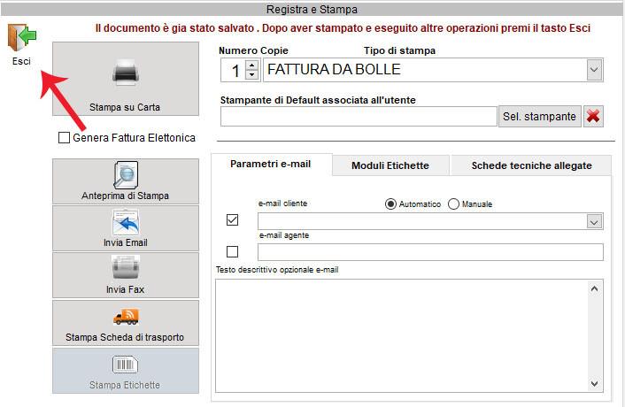 La schermata di Registra e stampa in Next2020