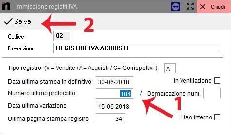 Schermata del registro IVA acquisti in Next2020