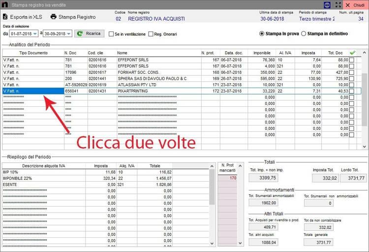 Schermata che mostra come aprire una fattura nel registro IVA acquisti in Next2020
