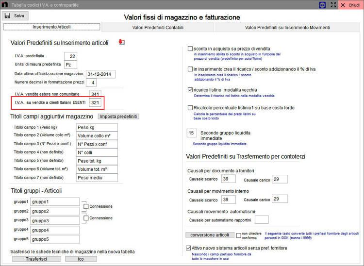 Come impostare l'IVA a clienti italiani esenti in Next2020
