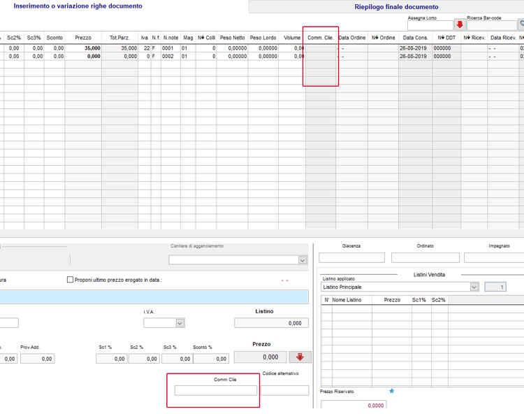 Il campo Comm Clie nella schermata inserimento righe ordine in next2020