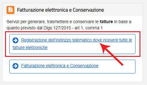 Scegliere di registrare l'indirizzo telematico dove ricevere le fatture elettroniche nel sito dell'Agenzia delle Entrate